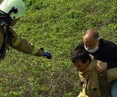 Dikenli çalılıkta mahsur kalan kişiyi itfaiye kurtardı