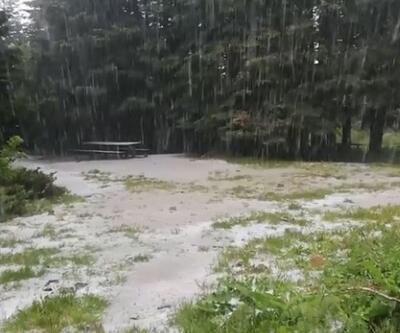 Uludağ'a mayıs ayında kar yağmaya devam ediyor