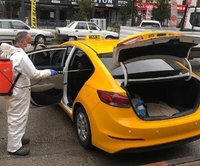 Yenimahalle'de taksi ve dolmuşlar dezenfekte edildi