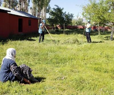 Mürvet Nine'nin bahçesindeki otları Vefa ekibi biçti