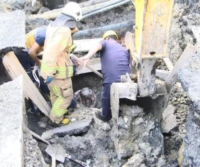 Esenyurt'ta toprak altında kalan işçiyi itfaiye kurtardı