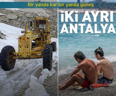 Antalya Akseki'de haziranda karla mücadele