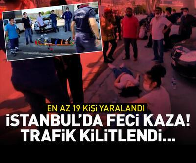 İstanbul'da feci kaza! Trafik kilitlendi...