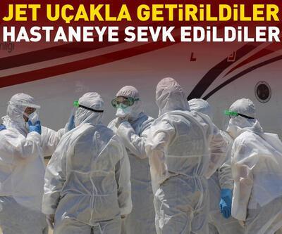 Koronavirüs hastalarını getiren ambulans uçak Atatürk Havalimanı'na indi