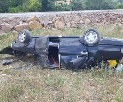 Tarlaya savrulan otomobilin sürücüsü yaralandı
