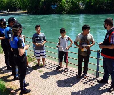 Adana'da polisten boğulmalara karşı broşürlü uyarı