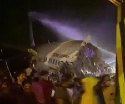 Son dakika haberi... Hindistan'da iniş yapan uçak ikiye ayrıldı   Video