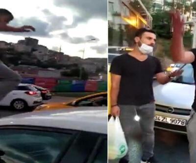 Trafikte kadına saldırı anı kamerada