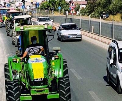 Erdemli Belediyespor'un traktörlü konvoyu
