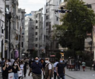 Son dakika.. Taksim'de dronlu maske denetimi