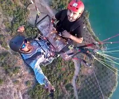 Yamaç paraşütünde kendi ürettiği 1,5 metrelik döneri yedi