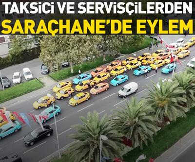 Taksici ve servisçilerden Saraçhane'de eylem