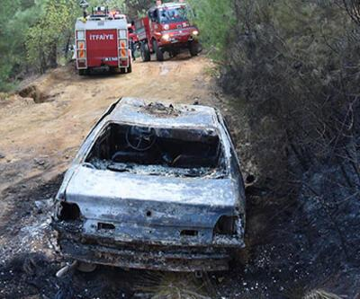 Alev alan otomobil ormanı yaktı