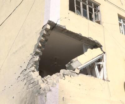 Terter ilçesinde bir apartman vuruldu | Video