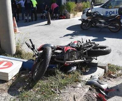 Direğe çarpan motosikletteki 2 kişi yaralandı