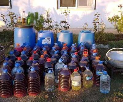 Bağ evinde 586 litre sahte içki ele geçirildi