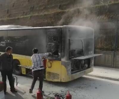 Sefaköy D-100'de otobüste yangın paniği