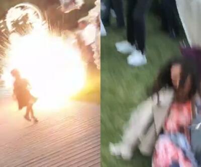 Düğünde patlatılan havai fişek genç kadının kabusu oldu | Video