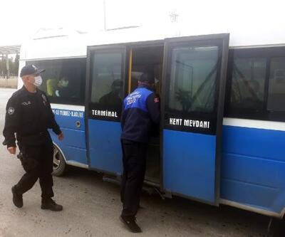 Osmangazi'de minibüslerde maske ve sosyal mesafe denetimi yapıldı