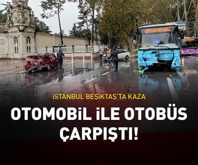 İstanbul, Beşiktaş'ta otomobil otobüsle çarpıştı