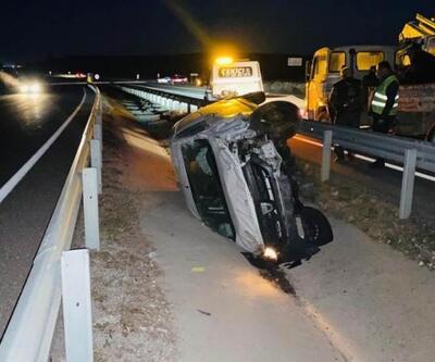 Devrilen aracın sürücüsü yaralandı