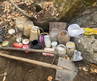 Bitlis'te teröristlerce toprağa gömülmüş yaşam ve inşaat malzemesi bulundu