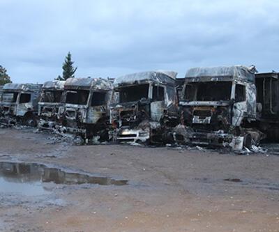 Osmaniye'de park halindeki 5 TIR yandı