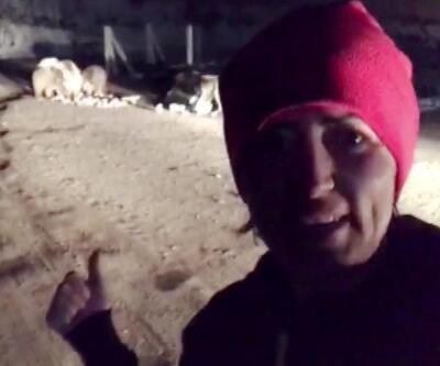 İlçe merkezine inen ayı ve yavrularıyla selfie | Video