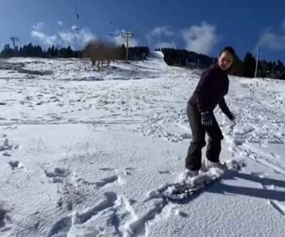 Hülya Avşar, Uludağ'da kayak yaptı