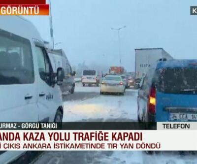 TIR yan döndü, yol trafiğe kapandı | Video