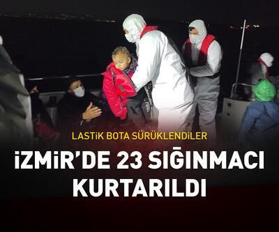Lastik botta sürüklenen 23 sığınmacı kurtarıldı