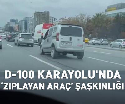 """D-100 Karayolu'nda """"zıplayan araç"""" şaşkınlığı"""