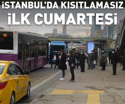 İstanbul'da kısıtlamasız ilk Cumartesi; Duraklarda yoğunluk