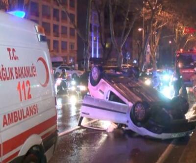 Araç takla attı, sürücü sıkıştı