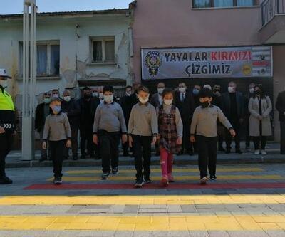Turgutlu'da yaya geçitlerinde 'kırmızı çizgi' dönemi