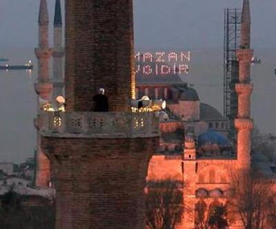 Ayasofya Camii'nden ilk iftar için ezan okundu