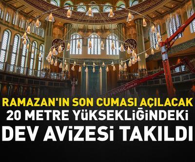 Taksim'de yapımı devam eden caminin dev avizesi ile kapısının kasası takıldı