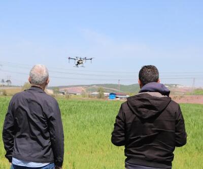 Tarım arazileri dronla ilaçlandı