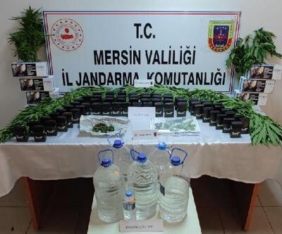 Jandarma operasyonunda sahte içki ve uyuşturucu madde ele geçirildi