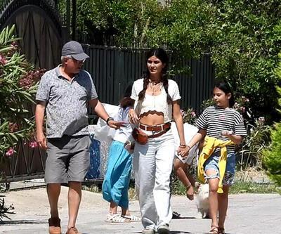 Tuba Büyüküstün ve kızları Bodrum'a veda etti