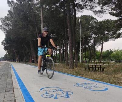 Orhangazi sahilinde bisiklet yolunun çizimi başladı