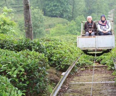 Evine kolay ulaşım için vagonlu raylı sistem kurdu