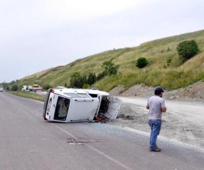 Malkara'da takla atan otomobilin sürücüsü yaralandı