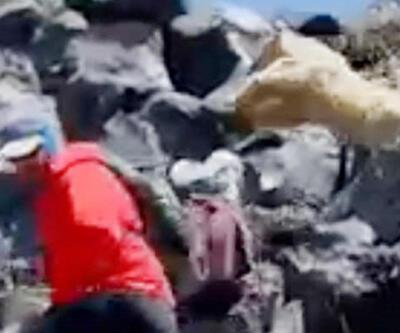 Ağrı Dağı'nda Ukraynalı dağcıların ayı korkusu kamerada