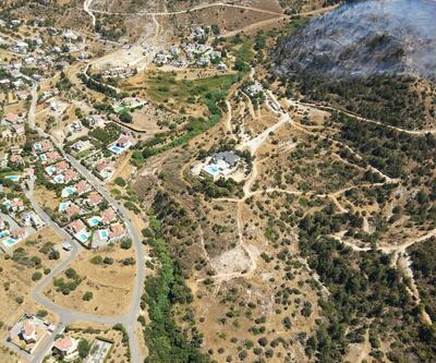 KKTC'deki yangın söndürme çalışmalarına İHA ve helikopterle destek