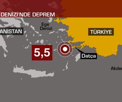 Son dakika... Ege Denizi'nde 5.5 büyüklüğünde deprem