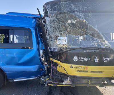 İETT otobüsü yolcu minibüsüne çarptı