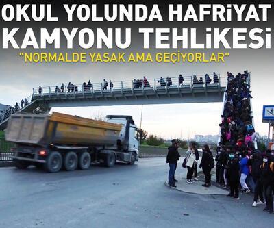 Okul yolundan geçen hafriyat kamyonları tedirgin ediyor