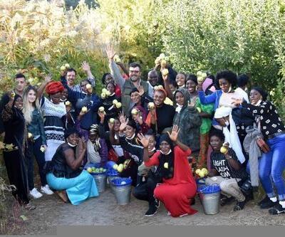 Eğirdir'i gezen Gambiyalılar elma topladı