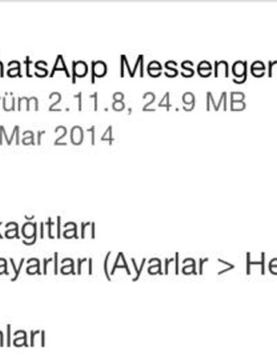 WhatsApp'tan bir güncelleme daha